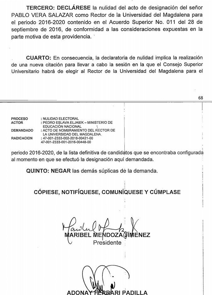 Fallo anula elección de Pablo Vera como rector