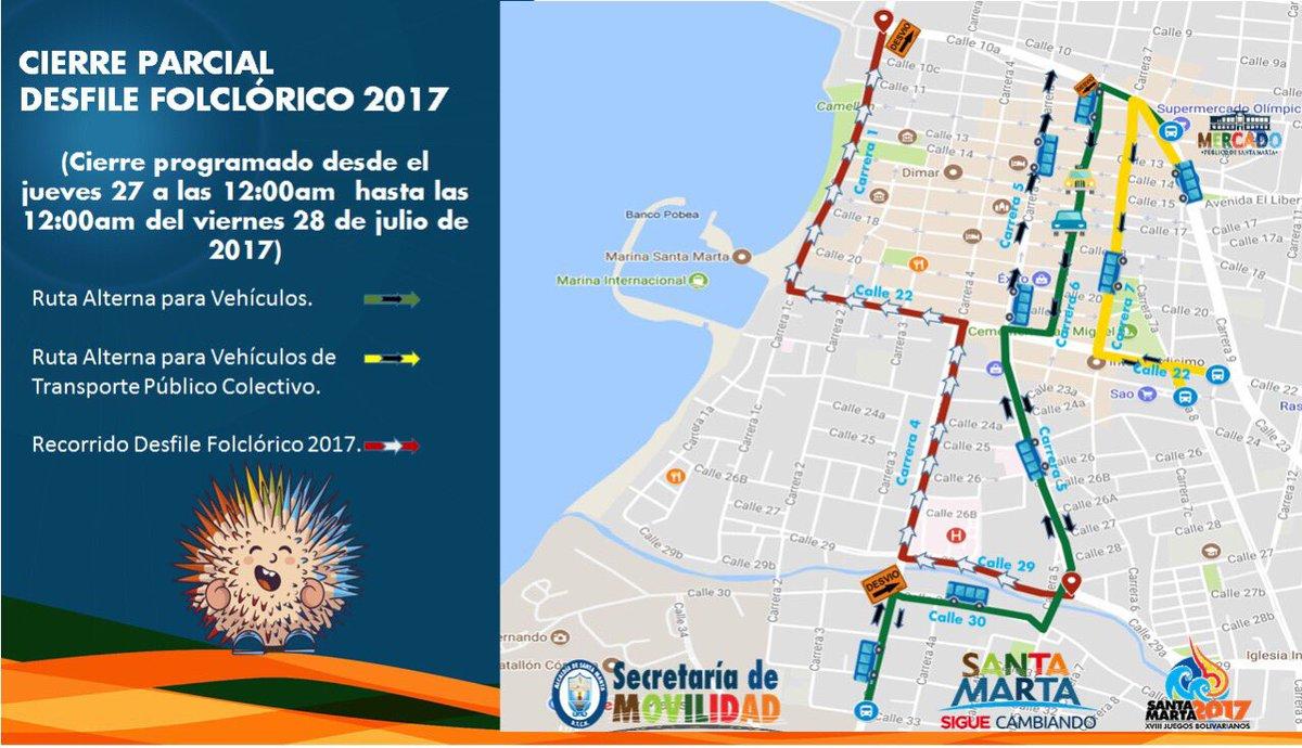 Vías que serán cerradas por el Desfile Folclórico de Fiesta del Mar